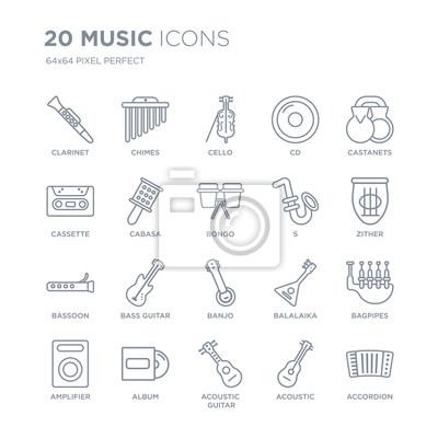 Kolekcja 20 ikon liniowych muzyki, takich jak klarnet, kuranty, gitara akustyczna, album, wzmacniacz, kastaniety, s, banjo, fagot ikony linii z cienką kreską, ilustracji wektorowych modny zestaw ikon.