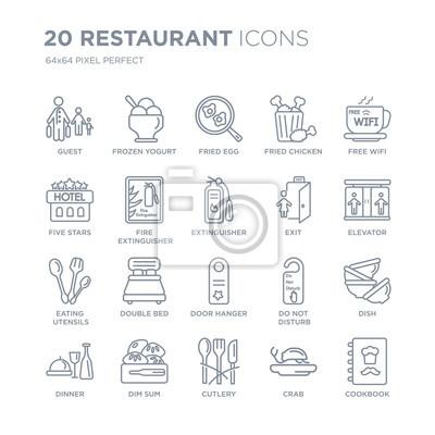 Kolekcja 20 ikon liniowych restauracji, takich jak gość, mrożony jogurt, sztućce, dim sum, kolacja, bezpłatne wifi, wyjście, wieszak na drzwi ikony linii z cienką kreską, ilustracji wektorowych modny