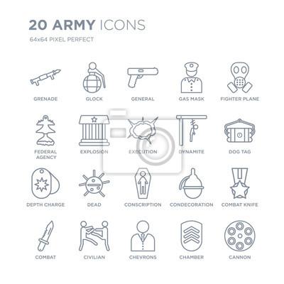 Kolekcja 20 liniowych ikon armii, takich jak granat, glock, szewrony, cywil, walka, samolot myśliwski, dynamit, ikony linii poboru z pociągnięciem cienkiej linii, ilustracji wektorowych modny zestaw i
