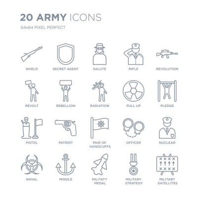 Kolekcja 20 liniowych ikon armii, takich jak Tarcza, tajny agent, Militaty Medal, Pocisk, marynarka wojenna, rewolucja, Pull up line ikony z cienką kreską, ilustracji wektorowych modny zestaw ikon.