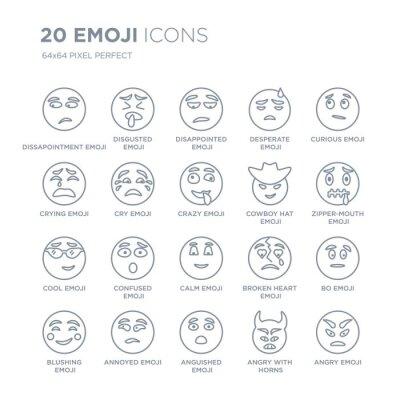 Kolekcja 20 liniowych ikon Emoji, takich jak emoji Rozczarowanie, Obrzydzone Udręczone ikony linii emoji z pociągnięciem cienkiej linii, ilustracji wektorowych modny zestaw ikon.