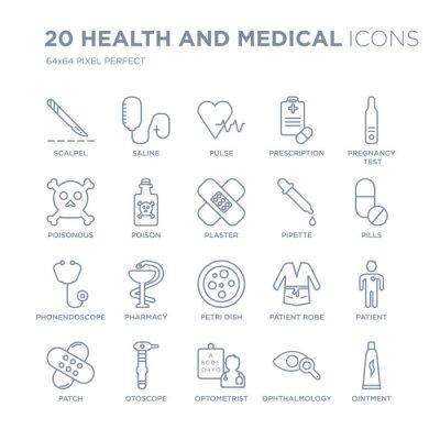 Kolekcja 20 medycznych i medycznych liniowych ikon, takich jak skalpel, sól fizjologiczna, okulista, otoskop, łata, test linii ciążowych ikon z pociągnięciem cienkiej linii, ilustracji wektorowych mod
