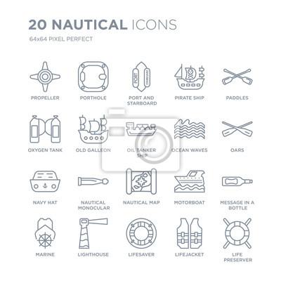 Kolekcja 20 morskich liniowych ikon, takich jak śmigło, iluminator, ratownik, latarnia morska, marine, wiosła, fale oceanu ikony linii z cienką kreską, ilustracji wektorowych modny zestaw ikon.