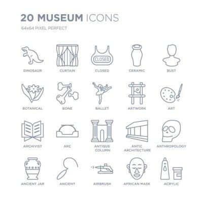 Kolekcja 20 muzealnych ikon liniowych, takich jak dinozaur, kurtyna, aerograf, starożytny, starożytny słoik, popiersie, grafika, antyczne Kolumna ikony linii z cienką kreską, wektor ilustracja modny z