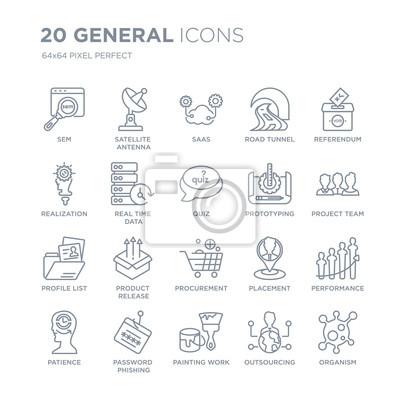 Kolekcja 20 ogólnych liniowych ikon, takich jak sem, antena satelitarna, prace malarskie, phishing hasłem, cierpliwość, ikony linii referendalnej z cienką kreską, ilustracji wektorowych modny zestaw i