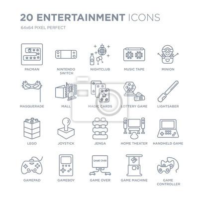 Kolekcja 20 rozrywkowych ikon liniowych, takich jak Pacman, przełącznik Nintendo, Game Over, Gameboy, Gamepad, Minion, Loteria gry linii ikon z cienką kreską, ilustracji wektorowych modny zestaw ikon.