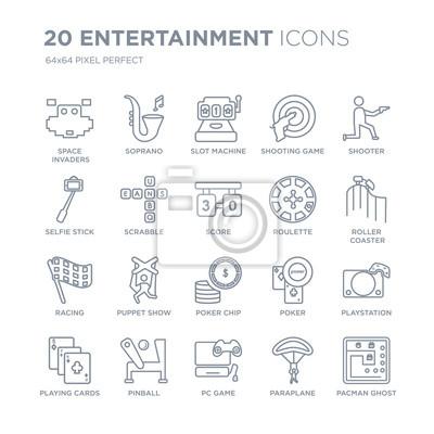 Kolekcja 20 rozrywkowych ikon liniowych, takich jak Space Invaders, Soprano, gra komputerowa, jednoręki bandyta, karty do gry, ikony linii Shooter z pociągnięciem cienkiej linii, ilustracji wektorowyc