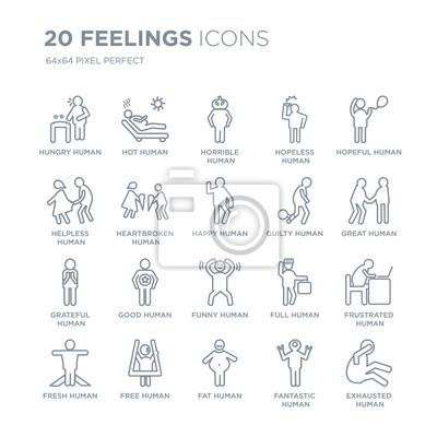 Kolekcja 20 uczuć liniowych ikon, takich jak głodny człowiek, gorące beztłuszczowe, świeże, pełne nadziei ikony ludzkiej linii z cienkim obrysem linii, ilustracji wektorowych modny zestaw ikon.