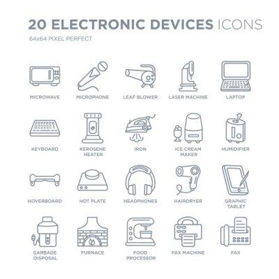 Kolekcja 20 urządzeń elektronicznych liniowych ikon, takich jak kuchenka mikrofalowa, mikrofon, robot kuchenny, piec, linia do usuwania śmieci z cienką kreską, ilustracji wektorowych modny zestaw ikon