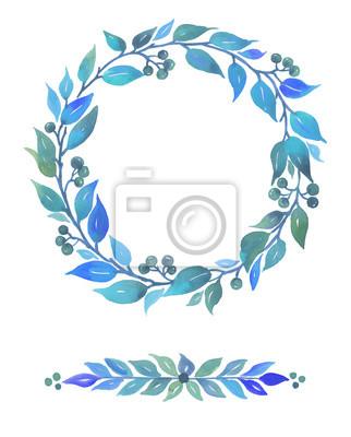 Kolekcja Akwarela z elementów dekoracyjnych, abstrakcyjnymi liści i jagód samodzielnie na białym tle.