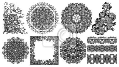 kolekcja bezszwowych dekoracyjnych etnicznych ozdobnych motywów kwiatowych