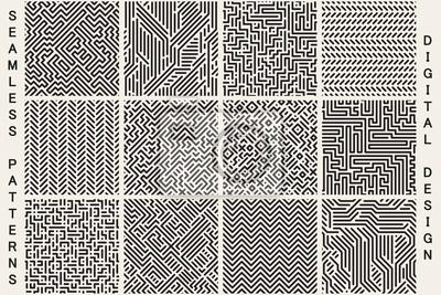 Naklejka Kolekcja bezszwowych wzorów geometrycznych w paski.