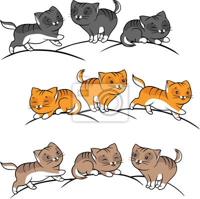 Kolekcja cute Zabawna wektora kotów zestawu.