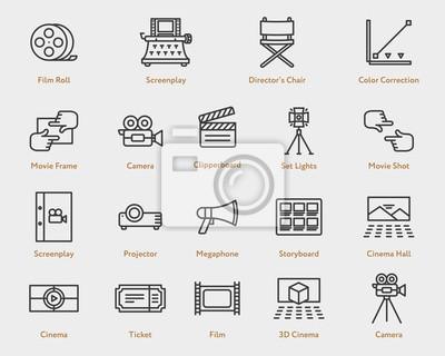 Kolekcja ikon filmu płaskiego filmu. Aparat fotograficzny, Spotlight, Skrypt, scenariusz, Storyboard, bilet, wideo, projektor, dyrektor krzesło, klapperboard, kino 3D