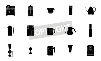 Kolekcja ikony płaski wektor kawy sprzęt