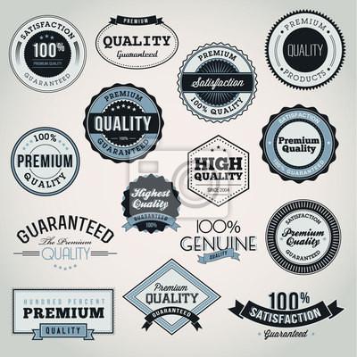 Kolekcja jakości Premium Quality i etykiet i odznak Gwarancyjnego