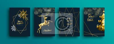 Kolekcja kart okolicznościowych złote renifery świąteczne