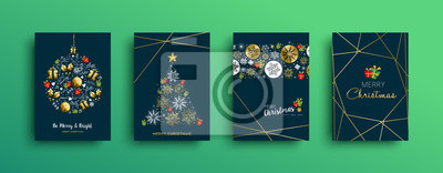 Kolekcja kart złota ozdoba Wesołych Świąt