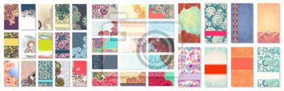 Naklejka kolekcja kolorowych kwiatów ozdobnych wizytówek
