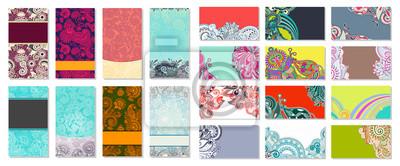 kolekcja kolorowych kwiatów ozdobnych wizytówek