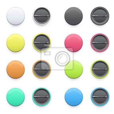 Kolekcja kolorowych odznak na białym tle.