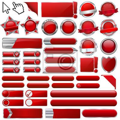 Kolekcja kolorowych przycisków 3d czerwone błyszczące wektora