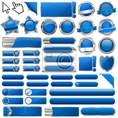 Kolekcja kolorowych przycisków 3d niebieski błyszczący wektora