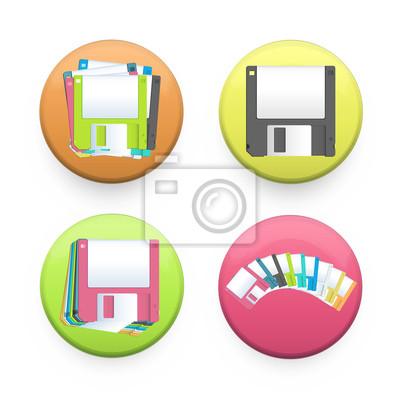 Kolekcja kolorowych przycisków z dyskietek wewnątrz