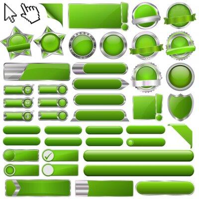 Kolekcja kolorowych wektora zielone przyciski błyszczący 3d