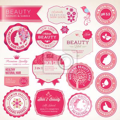 Kolekcja kosmetyków etykiet i odznak