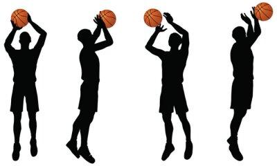 Naklejka Kolekcja koszykarze strzelać sylwetki w pozycji