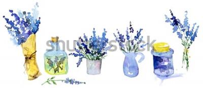Naklejka Kolekcja lawenda kwitnie na białym tle. Zestaw Vintage kwiaty. Zioła z ogrodu. Zioła na białym tle. Roślina ziół. projekt kraju ogrodnictwo. kwiaciarnia, dekoracja roślin. Pojedyncze białe.