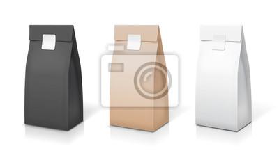 Naklejka Kolekcja opakowań na papier do kawy i herbaty. Zestaw toreb foliowych. Przekąski saszetki paczki odosobniona wektorowa ilustracja