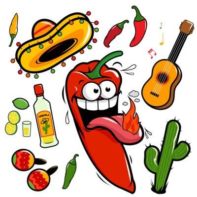 Naklejka Kolekcja papryka chili Mariachi Mexican ikona.