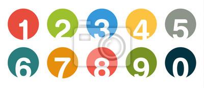 Naklejka Kolekcja pojedyncze rundy ilość ikon na 0 - 9