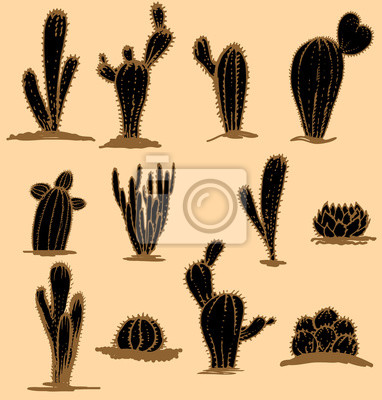 Kolekcja ręczne kaktusy, ilustracji wektorowych. Różne rodzaje kaktus roślin ozdobnych zestaw ikon samodzielnie. Stylizowane, brązowy