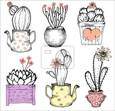 Kolekcja ręczne ładny kaktusy, ilustracji wektorowych. Różne rodzaje roślin kaktus z kwiatami w imbryku i pot, serce, ustawić samodzielnie. Pastelowe różowe i czarne i białe