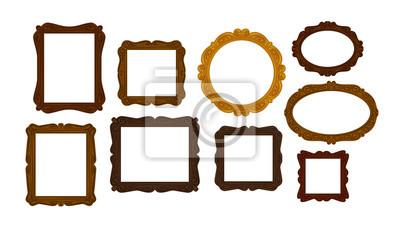 Naklejka Kolekcja rocznika drewniane klatki obrazu. Lustro, ikona portretu lub symbol. Ilustracji wektorowych