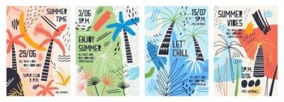 Naklejka Kolekcja szablonów zaproszenia lub plakatu ozdobione tropikalnymi palmami, plamy farby, plamami i gryzmoły na letnim tańcu na świeżym powietrzu. Ilustracja wektorowa na promocję imprezy latem.