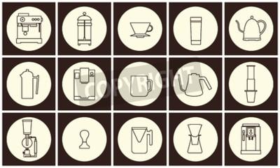Kolekcja wektor płaski ikona linia sprzęt
