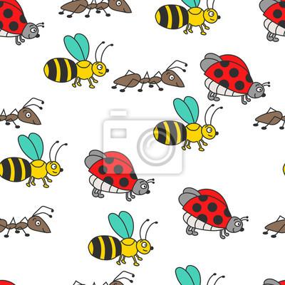 Kolorowa biedronka, pszczoła, mrówka wzór.