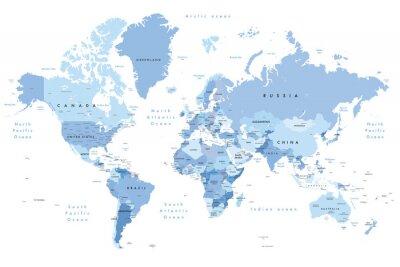 Naklejka Kolorowa ilustracja mapy świata przedstawiająca nazwy krajów, nazwy stanów (USA i Australia), stolice, główne jeziora i oceany. Drukuj na nie mniej niż 36 cali