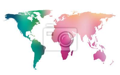 Kolorowa mapa świata gradientu. Wektor tła.