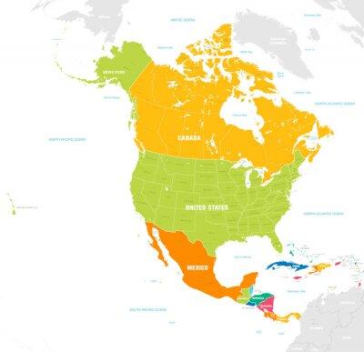 Naklejka Kolorowa mapa wektorowa Ameryki Północnej i Środkowej