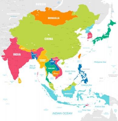 Naklejka Kolorowa wektorowa mapa Azja Wschodnia