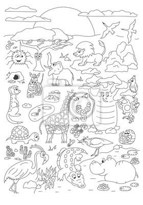 Kolorowanki ręcznie rysowane strony z wektor ładny zwierzęta sawanny