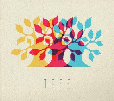 Naklejka Kolorowe drzewa sylwetka tło koncepcji
