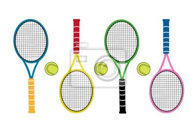 Kolorowe duże rakiety tenisowe z piłką tenisową. Całość sport.