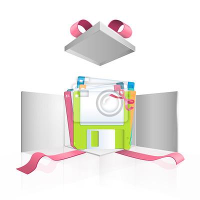 Kolorowe dyskietek w pudełku. Vector design.
