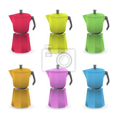 Kolorowe dzbanek do kawy. Vector design